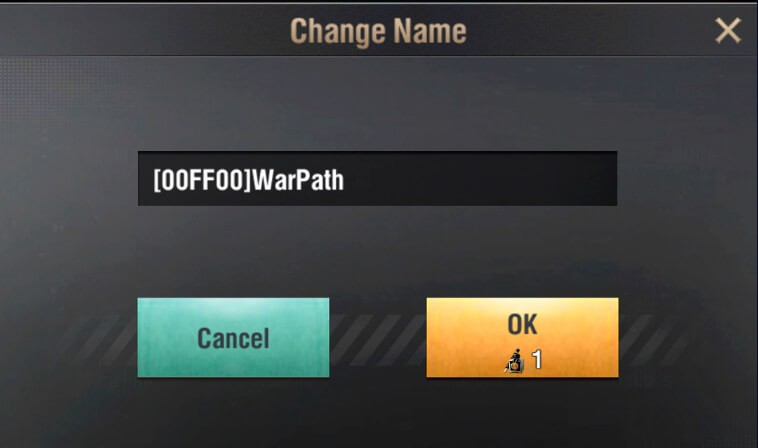 change name color warpath screenshot 3
