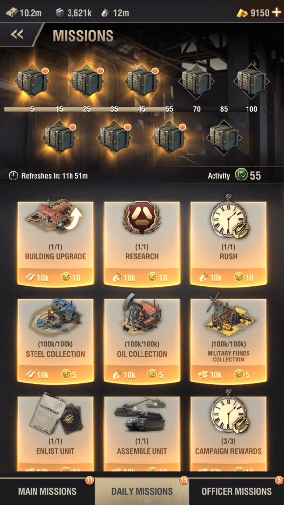 warpath daily missions