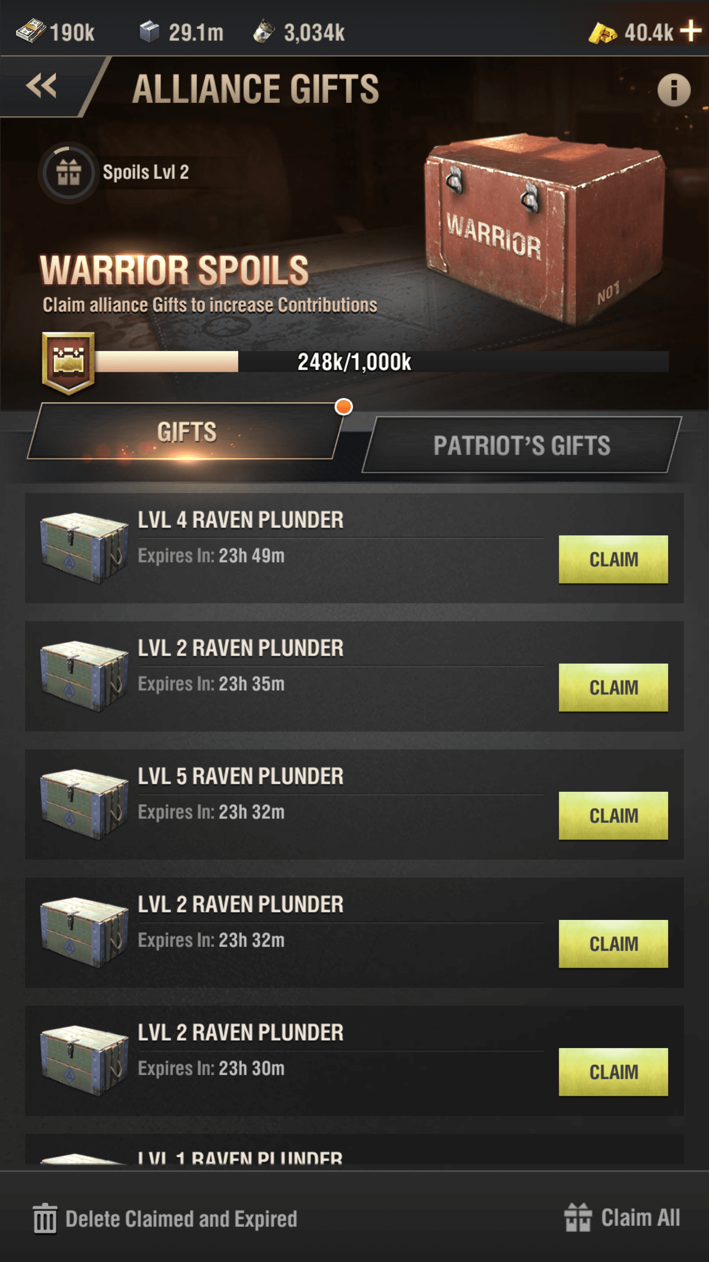 Warpath Alliance Gifts