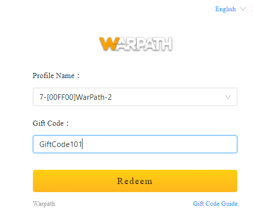 enter gift codes to receive gifts